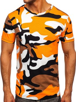 Оранжевая хлопковая футболка мужская с принтом камуфляж Bolf 14930