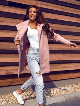 Розовое женское пальто Bolf 7118-1