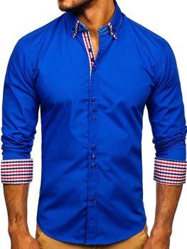 Рубашка мужская элегантная с длинным рукавом васильковая Bolf 0926