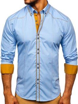 Рубашка мужская BOLF 4777 голубая