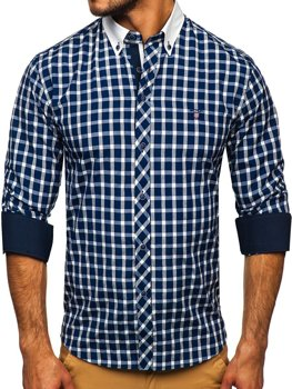 Рубашка мужская BOLF 5737 темно-синяя