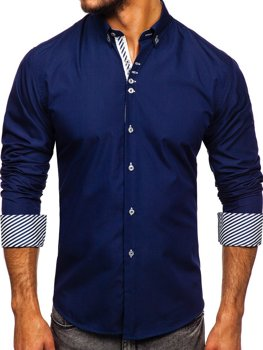Рубашка мужская BOLF 5796 темно-синяя