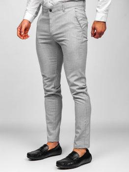 Светло-серые  мужские брюки чиносы Bolf 0016