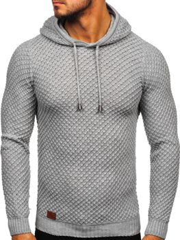 Свитер мужской с капюшоном серый Bolf 7004