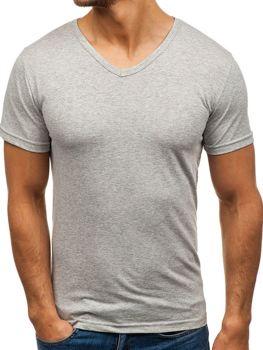 Серая мужская футболка без принта с v-образным вырезом Bolf 1002
