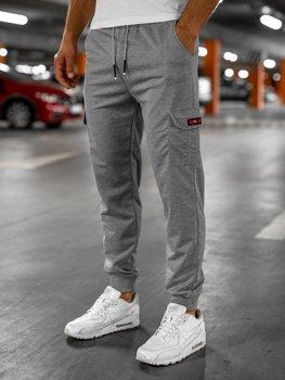 Серые мужские спортивные брюки карго Bolf JX323