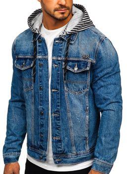 Синяя мужская джинсовая куртка с капюшоном Bolf  RB9887