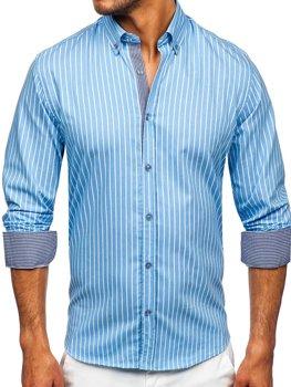 Синяя мужская рубашка в полоску с длинным рукавом Bolf 20731