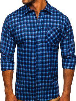 Синяя мужская фланелевая рубашка с длинным рукавом Bolf F9