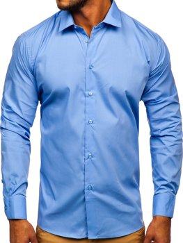 Синяя мужская элегантная рубашка с длинным рукавом Bolf SM39