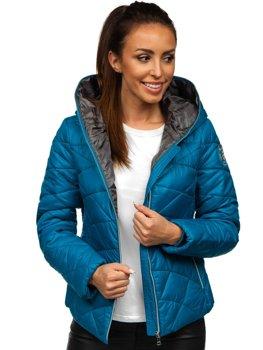 Синяя стеганая женская зимняя куртка с капюшоном Bolf A5701