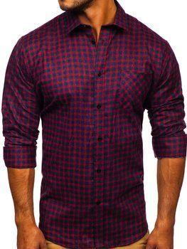 Темно-сине-красная мужская фланелевая рубашка с длинным рукавом Bolf F8