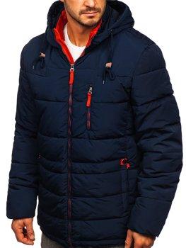 Темно-сине-красная стеганая мужская зимняя куртка с капюшоном Bolf M72073