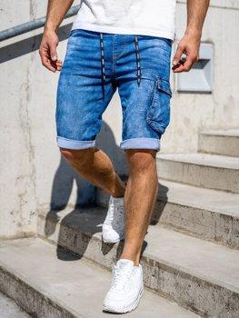 Темно-синие джинсовые шорты карго мужские Bolf KR1206