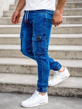Темно-синие мужские джинсовые брюки джоггеры карго Bolf HY688
