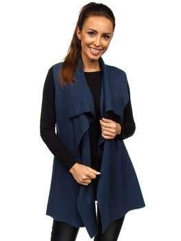 Темно-синий женский свитер кардиган без рукавов Bolf AL0220l