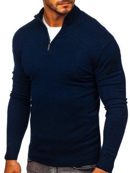 Темно-синий мужской свитер с высоким воротником стойка Bolf YY08