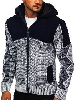 Темно-синий мужской свитер толстой вязки Bolf 2049