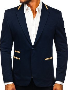 Темно-синий элегантный мужской пиджак Bolf 9400