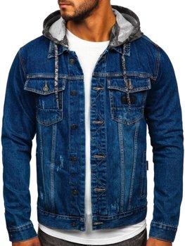 Темно-синяя джинсовая куртка с капюшоном Bolf RB9824-1
