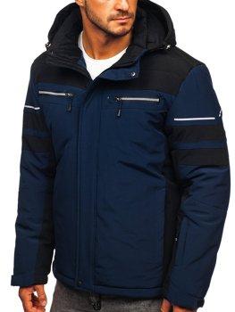 Темно-синяя лыжная куртка мужская зимняя спортивная куртка Bolf BK114