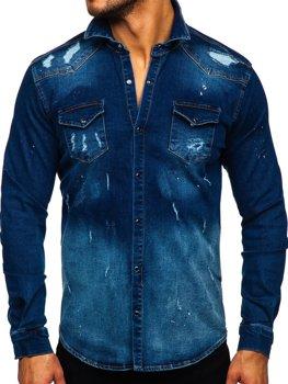 Темно-синяя мужская джинсовая рубашка с длинным рукавом Bolf R802