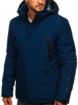 Темно-синяя мужская зимняя спортивная лыжная куртка Bolf 9801