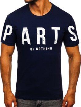 Темно-синяя мужская футболка с принтом Bolf 1180
