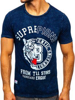 Темно-синяя мужская футболка с принтом Bolf HFM015