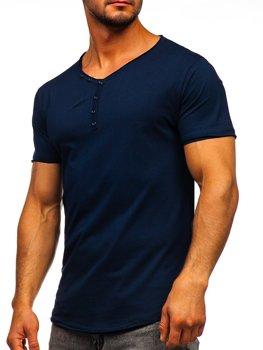 Темно-синяя мужская футболка с V-образным вырезом без принта Bolf 4049