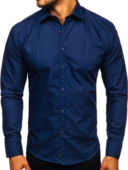 Темно-синяя мужская элегантная рубашка с длинным рукавом Bolf 4705G