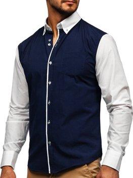 Темно-синяя мужская элегантная рубашка с длинным рукавом Bolf 6919