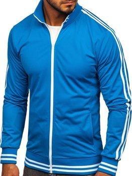 Толстовка мужская без капюшона ретро стиль синяя Bolf 11113