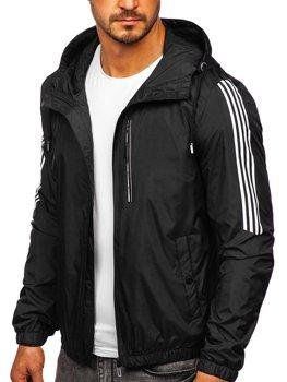 Черная демисезонная мужская спортивная куртка с капюшоном Bolf 6172