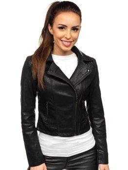 Черная женская кожаная куртка-косуха Bolf 2071