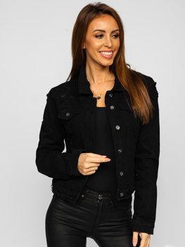 Черная женская короткая джинсовая куртка Bolf WL1746-1