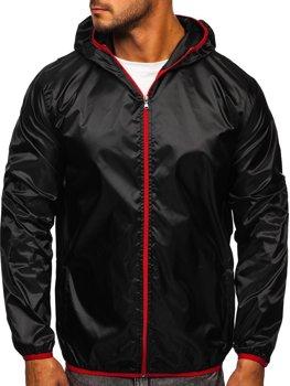 Черная мужская демисезонная куртка с капюшоном ветровка BOLF 5060