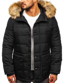 Черная мужская зимняя куртка парка Аляска Bolf JK361