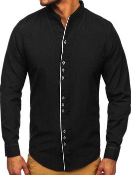 Черная мужская рубашка с длинным рукавом Bolf 5720