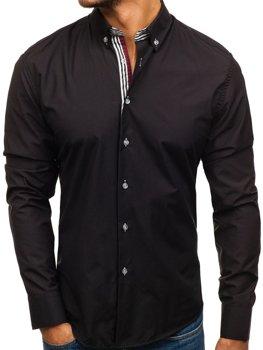 Черная мужская элегантная рубашка с длинным рукавом Bolf 6943