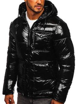 Черная стеганая зимняя мужская спортивная куртка Bolf 973