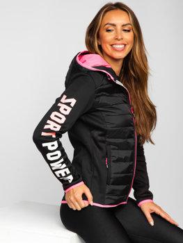 Черная стеганая куртка с капюшоном Bolf KSW4008