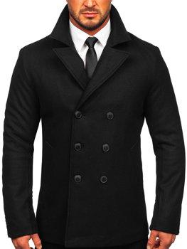 Черное двубортное мужское зимнее пальто с высоким воротником Bolf 8801