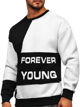 Черно-белая мужская толстовка с принтом Forever Young без капюшона Bolf 0003