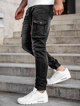 Черные джинсовые джоггеры-карго мужские slim fit Bolf 31007W0