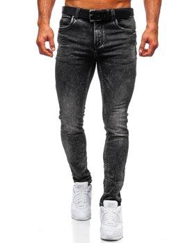 Черные джинсовые мужские брюки regular fit с поясом Bolf 30035W0