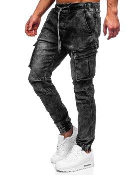 Черные мужские джинсовые джоггеры-карго Bolf TF055