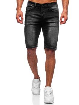 Черные мужские джинсовые шорты Bolf 3036