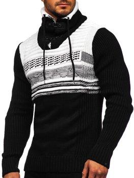 Черный мужской свитер толстой вязки с воротником-стойкой Bolf 2020