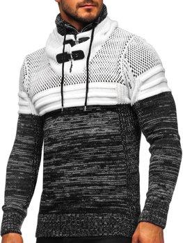 Черный мужской свитер толстой вязки с воротником-стойкой Bolf 2058